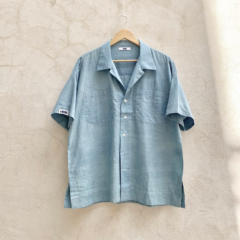 Short Sleeve Mak Camp Shirt / cloud dye indigo khadi