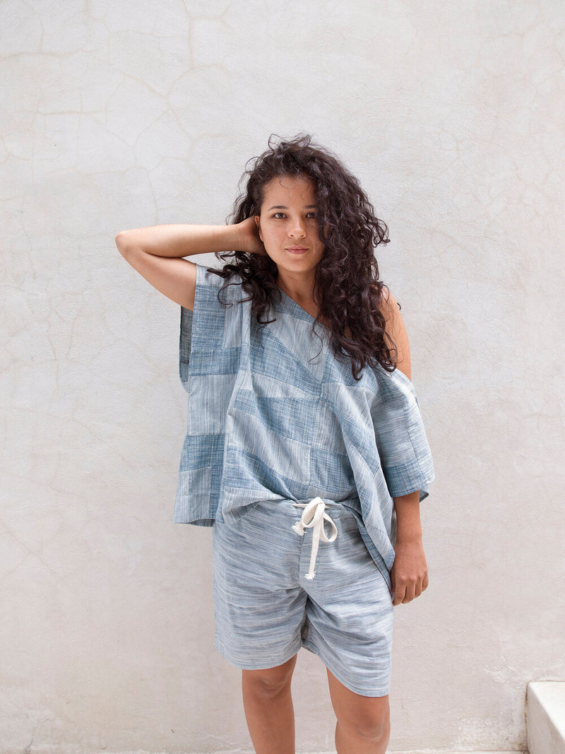 Marka Square Top / Patchwork Handwoven Space Dye