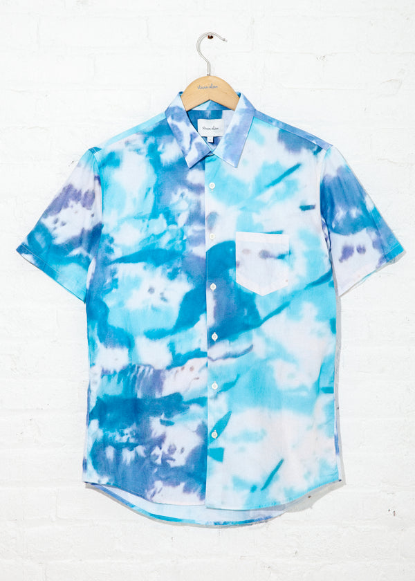 Short Sleeve Jasper Shirt in Blue Tie Dye