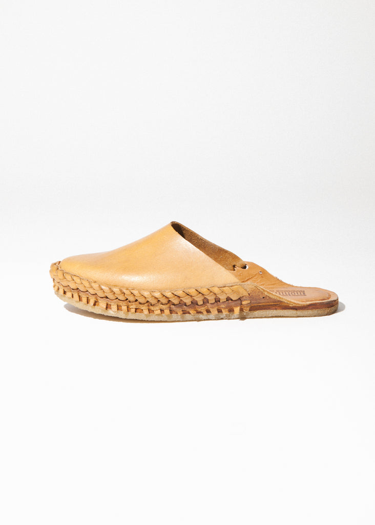 Women's Solid Slide in Natural Leather