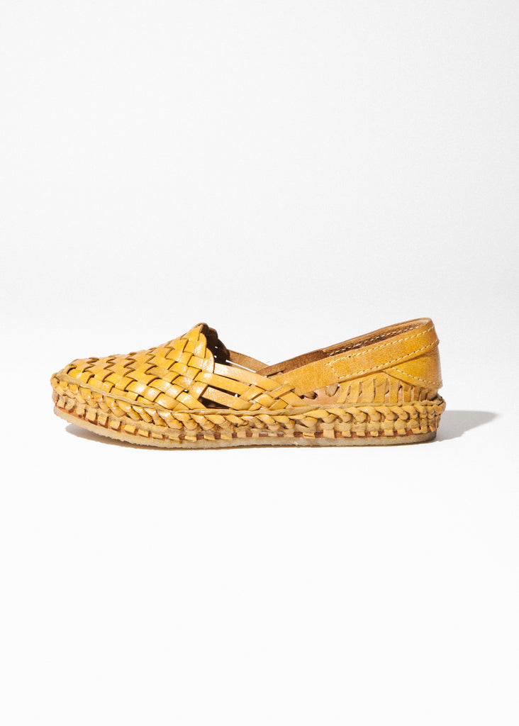 Women's Woven Flat in Natural Leather