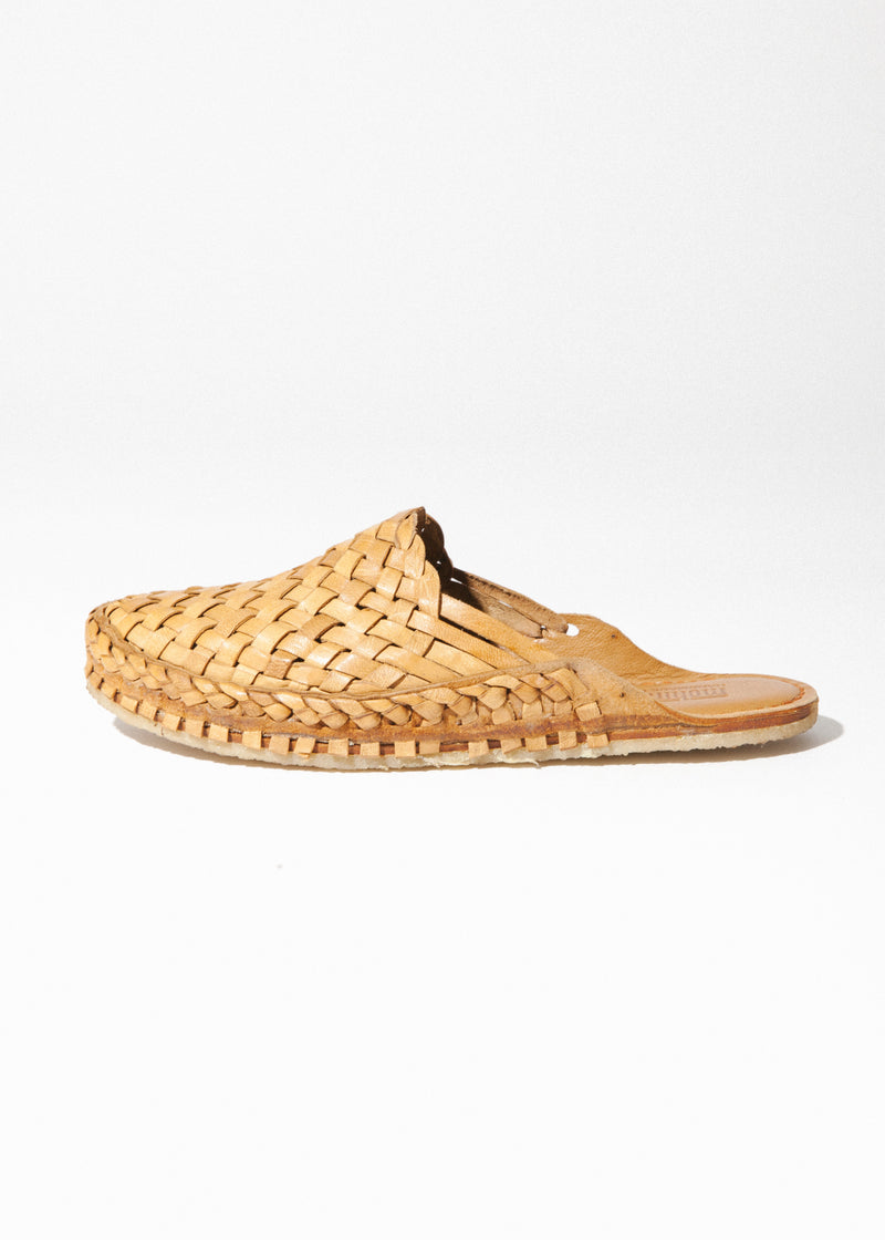 Women's Woven Slide in Natural Leather