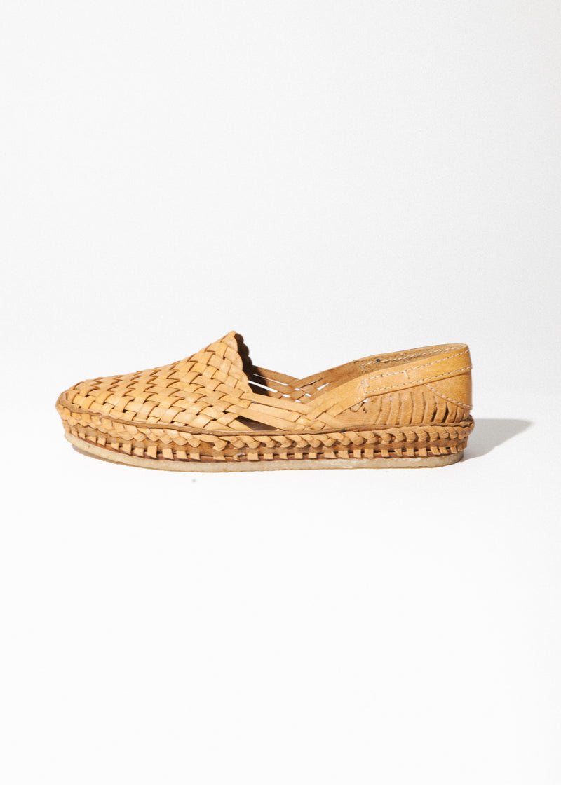Men's Woven Shoe in Natural Leather