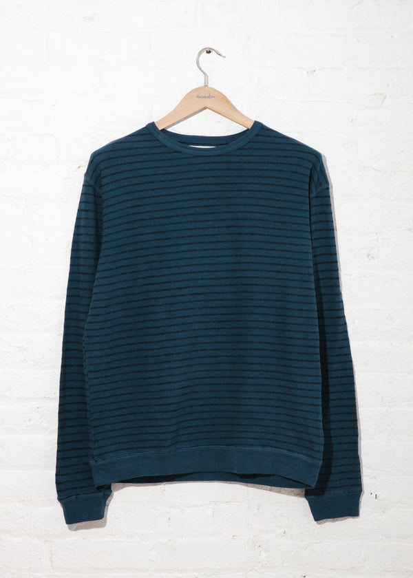 Yarn Stripe Crew in Navy