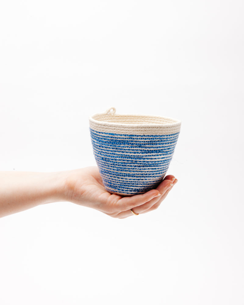 Medium Planter in Blue + Natural