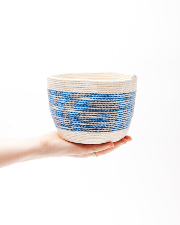 Small Bucket in Blue + Natural