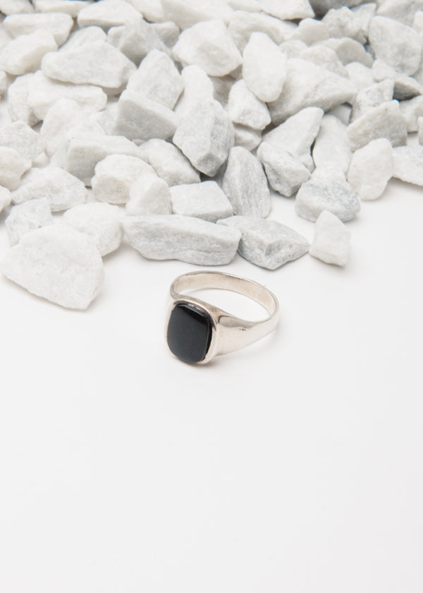 Onyx Signet Ring in Silver