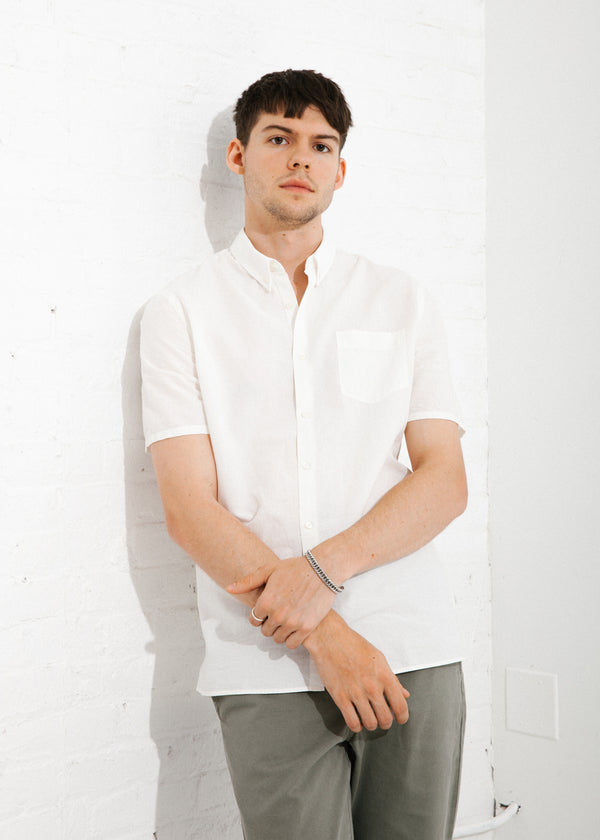 Short Sleeve Single Needle Shirt in White