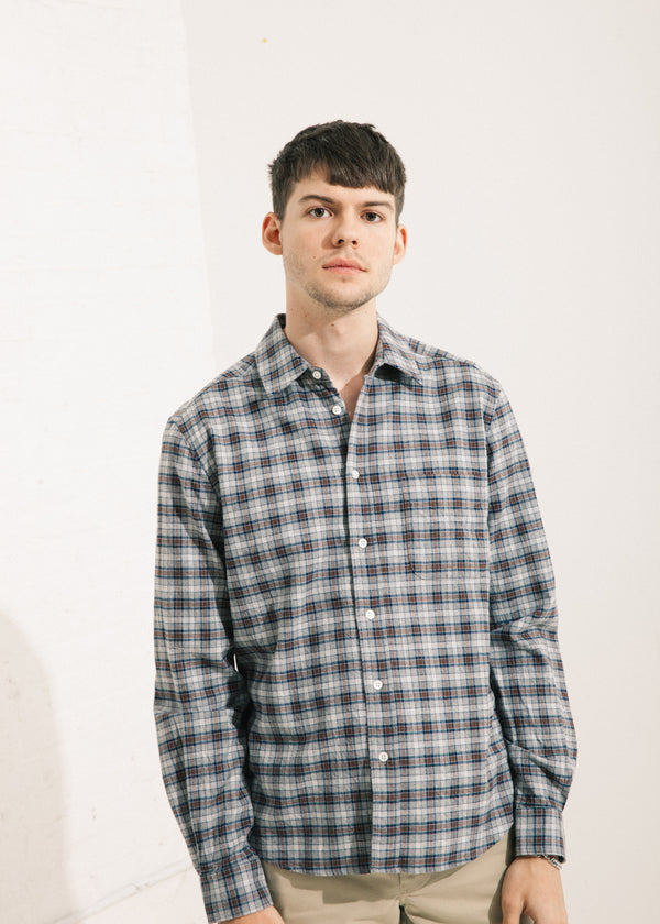 Staple Street Shirt in Brown/Blue Check