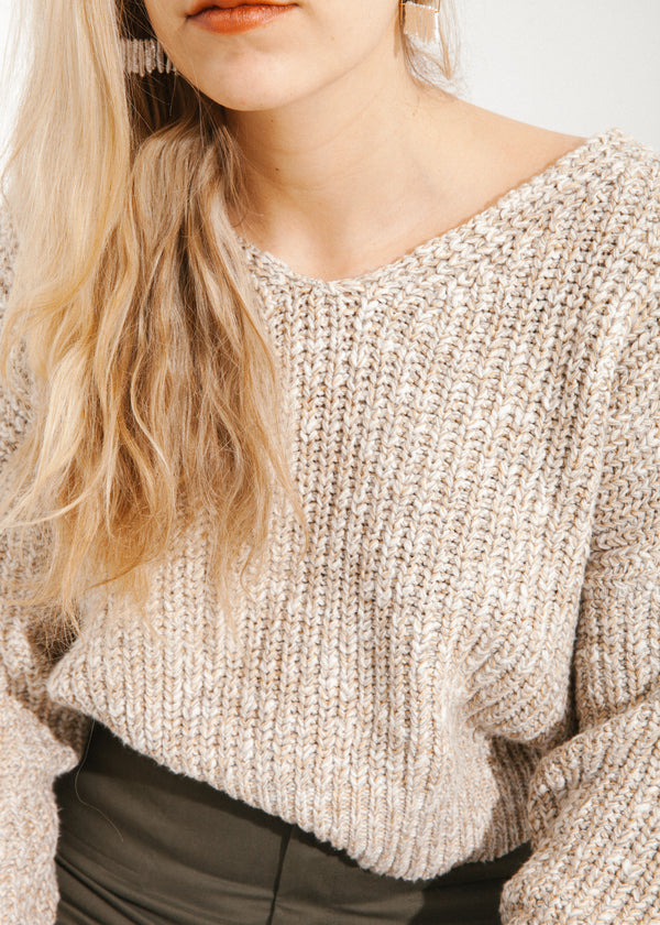Beach V-Neck Sweater in Cream