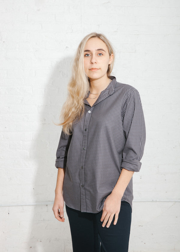 Twill Check Cadet Shirt in Dark Gray
