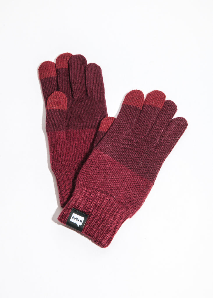 2Ton Touchscreen Gloves in Wine x Deep Red