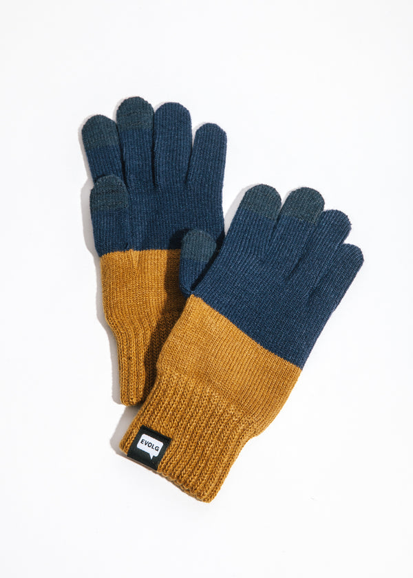 2Ton Touchscreen Gloves in Curry x Navy