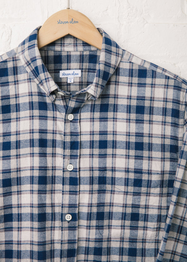 Classic Collegiate Shirt in Navy Grey Plaid