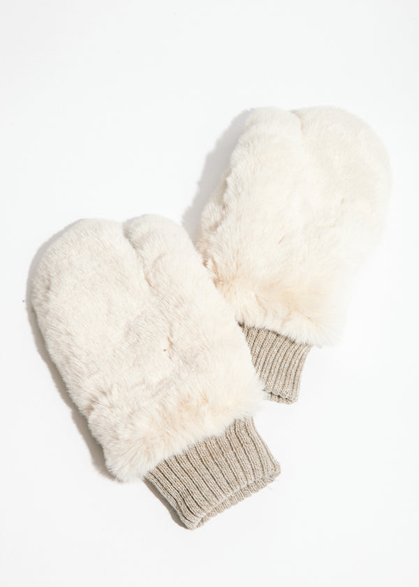 Bear Touchscreen Mittens in Off White