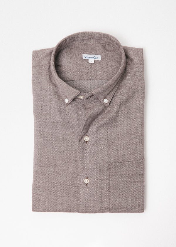 Single Needle Shirt in Chestnut Herringbone