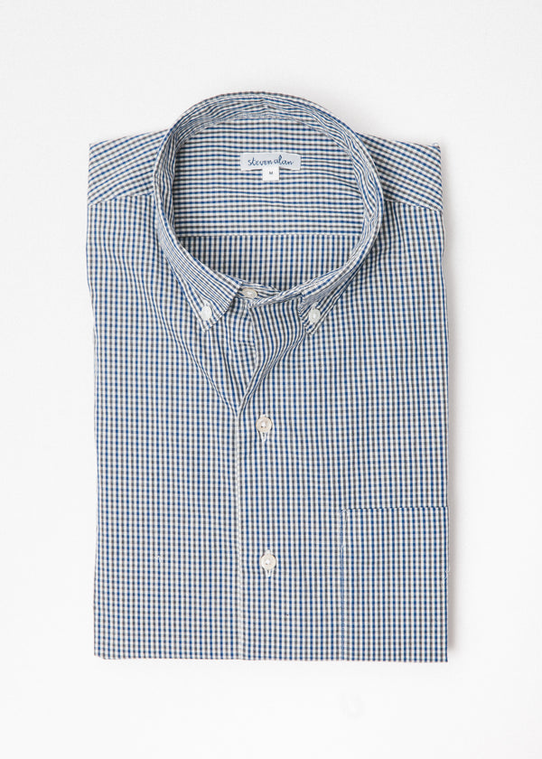 Single Needle Shirt in Navy Fatigue Micro Gingham