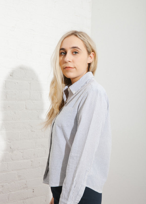 Austen Shirt in Grey Stripe