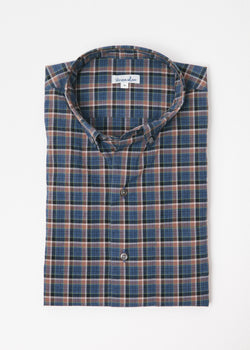 Single Needle Shirt in Navy Stacked Plaid