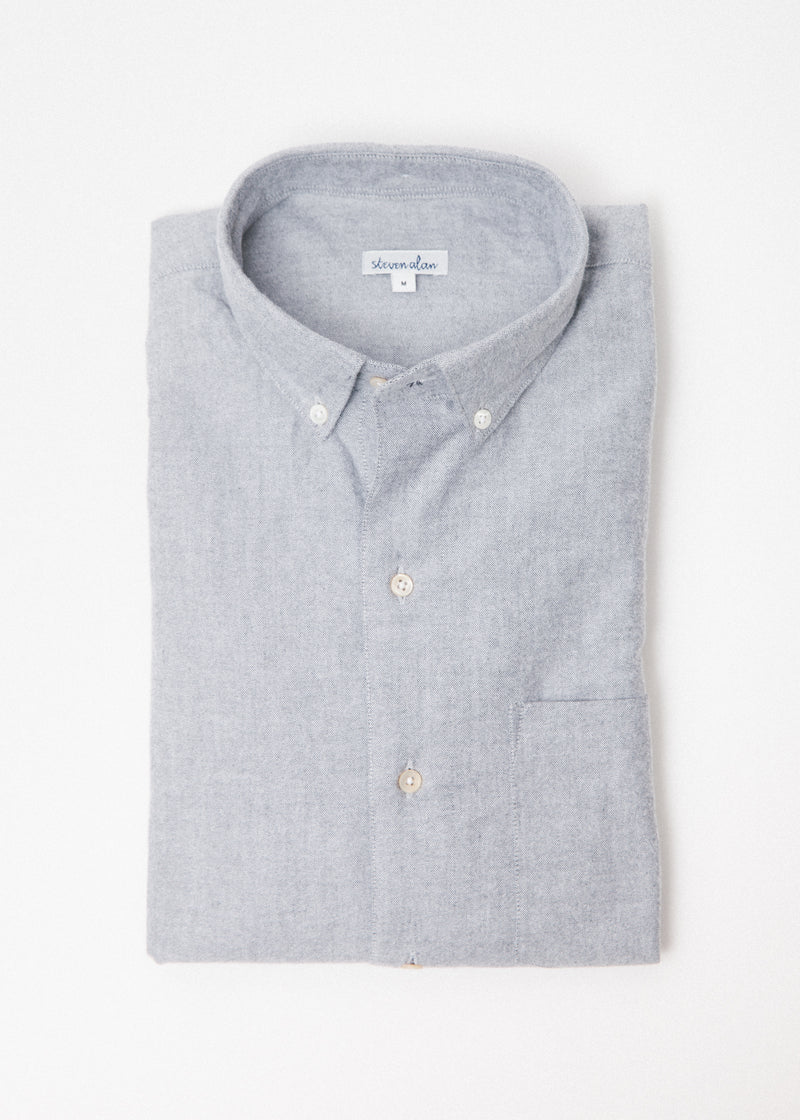 Single Needle Shirt in Faded Black Oxford