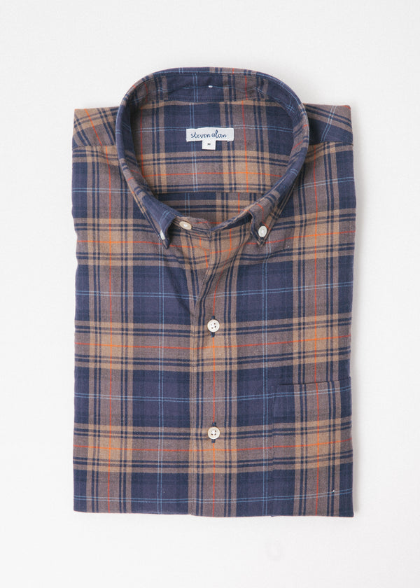 Single Needle Shirt in Ochre Navy Plaid