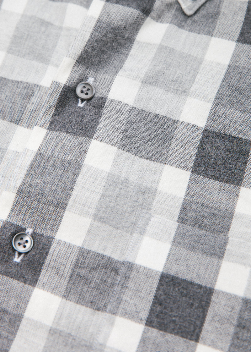 Single Needle Shirt in Charcoal Plaid Flannel