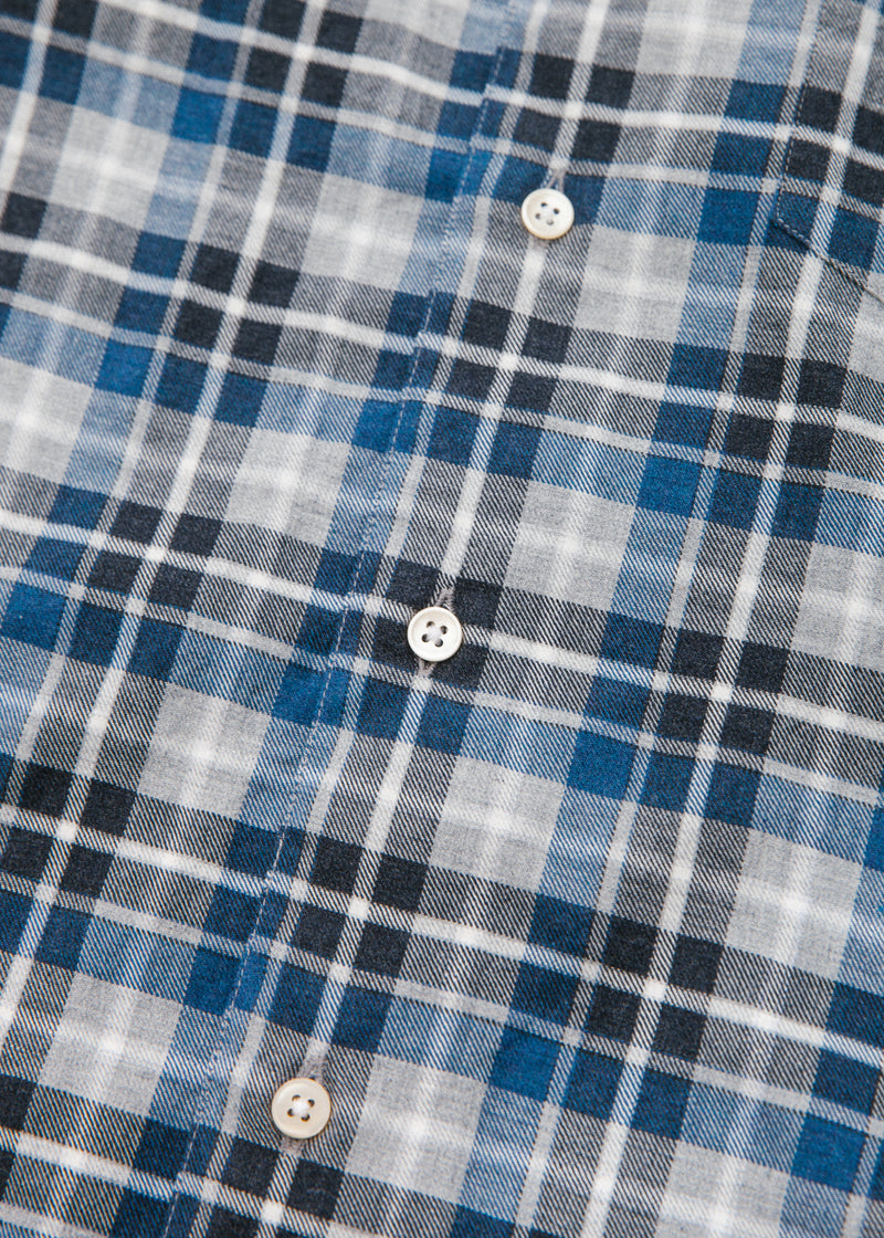 Single Needle Shirt in Brushed Blue Plaid