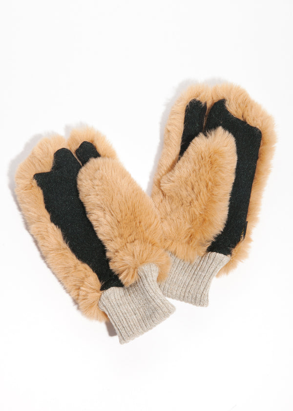 Bear Touchscreen Mittens in Camel
