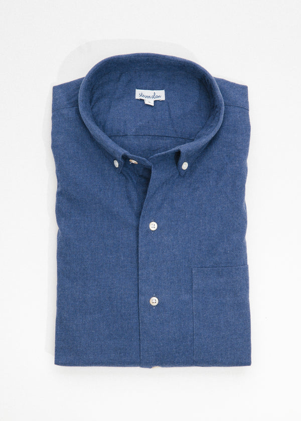 Single Needle Shirt in Brushed Navy