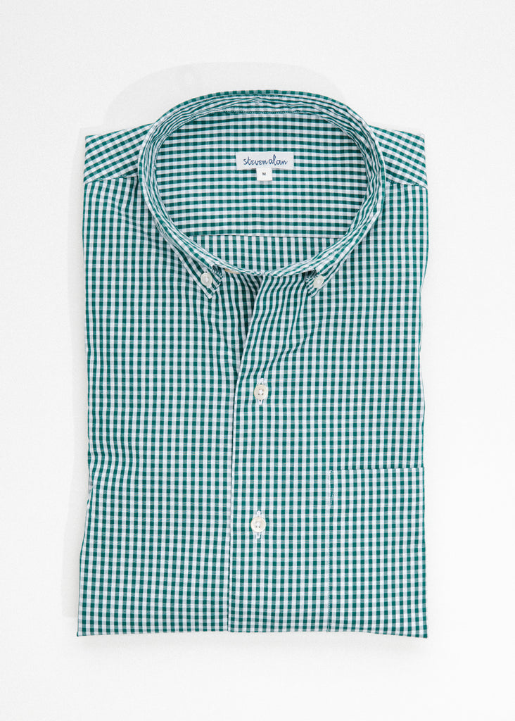 Single Needle Shirt in Moss Micro Gingham