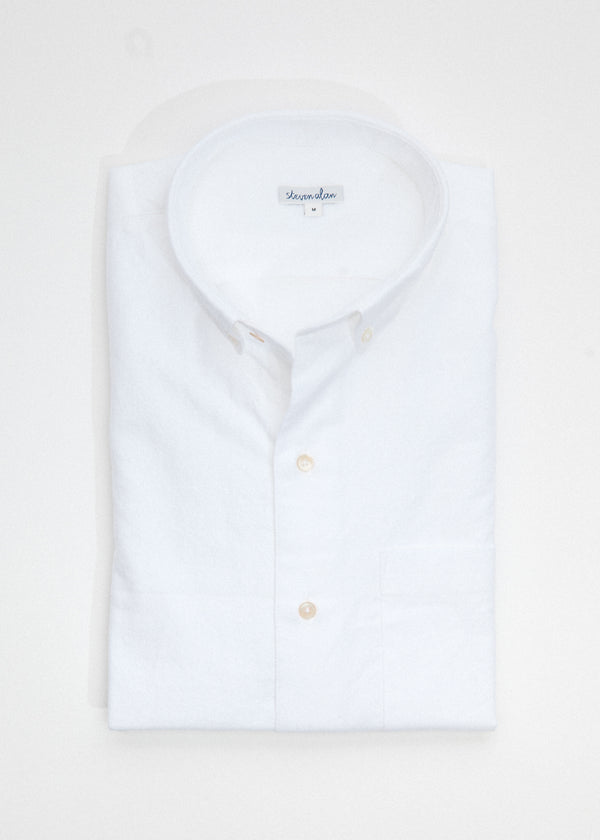 Single Needle Shirt in White Brushed Oxford