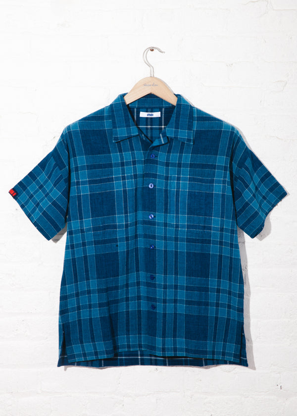 Unisex Mak Camp Shirt in Handwoven plaid