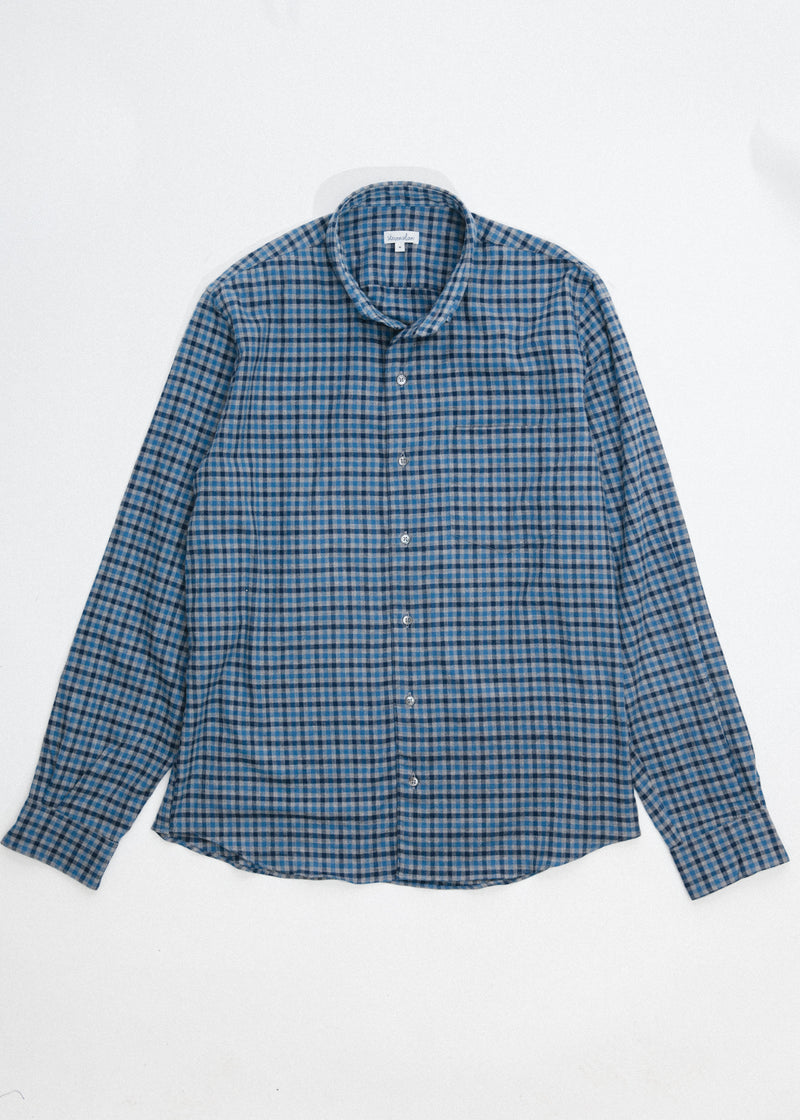 Single Needle Shirt in Colbalt and Navy Gingham
