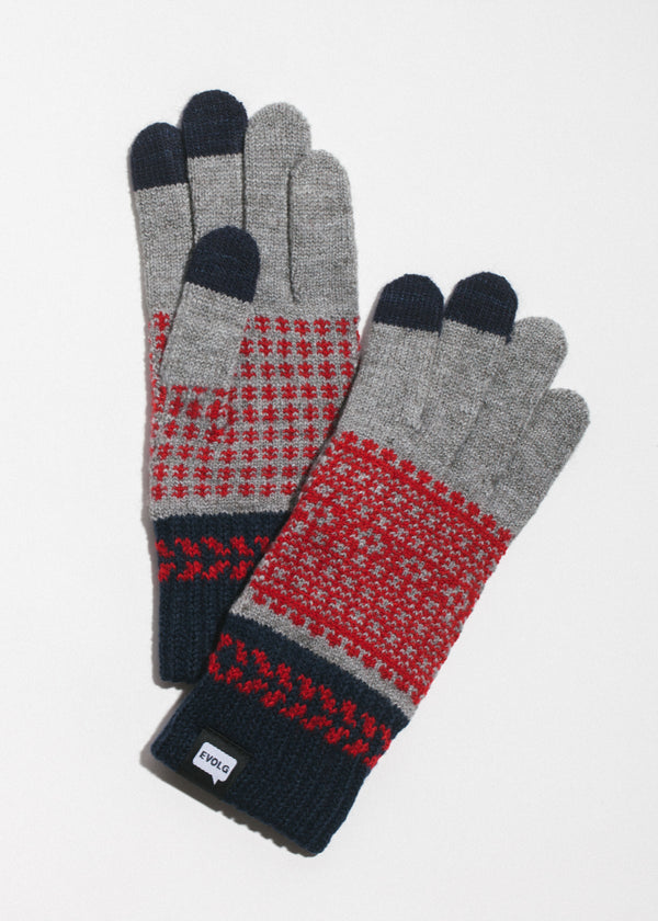 Fleur Touchscreen Gloves in Grey x Red