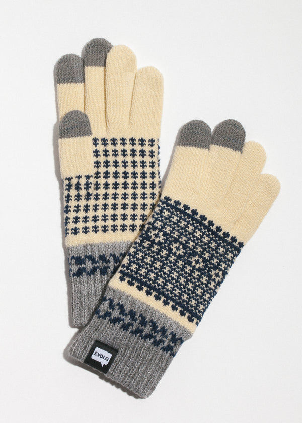 Fleur Touchscreen Gloves in Vanilla x Navy