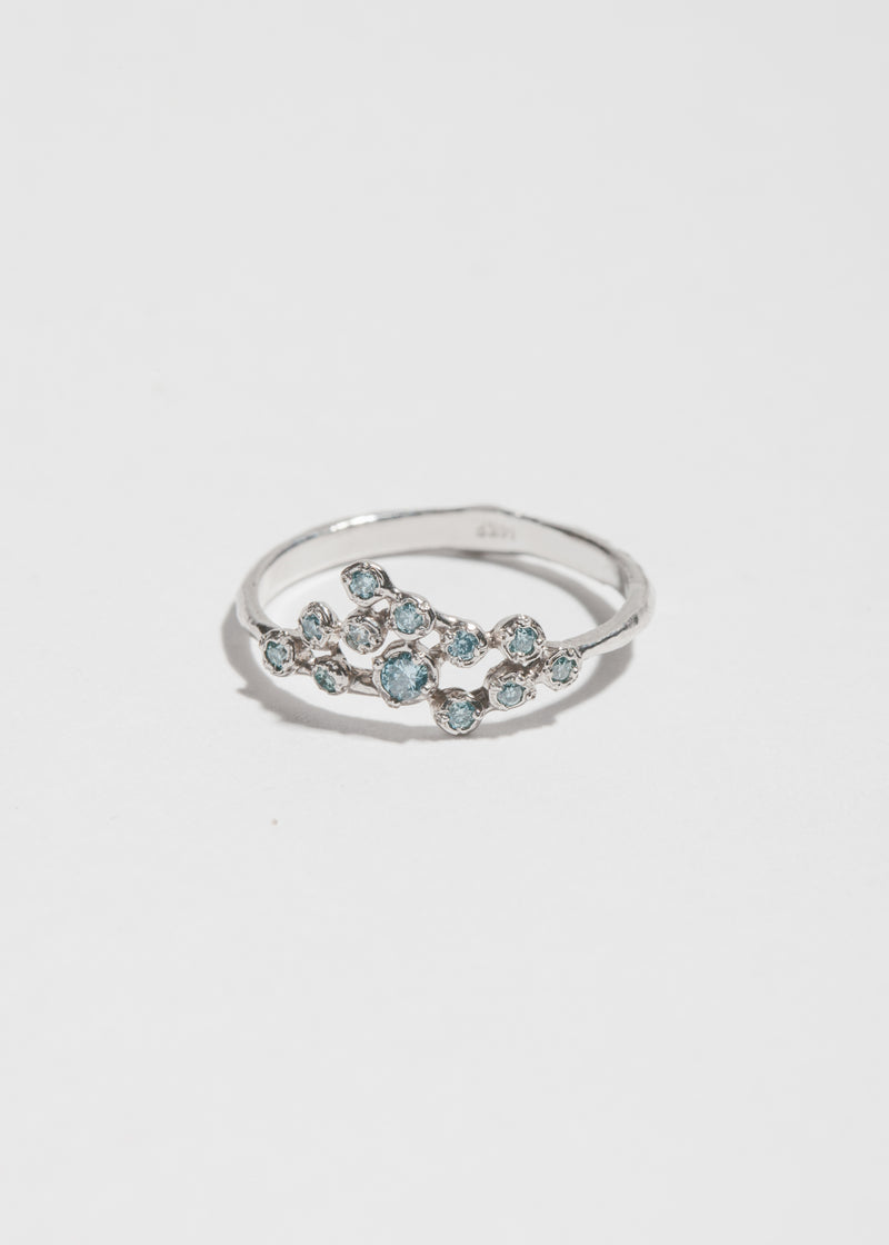 14k White Gold and Blue 12 Diamond Cluster Ring
