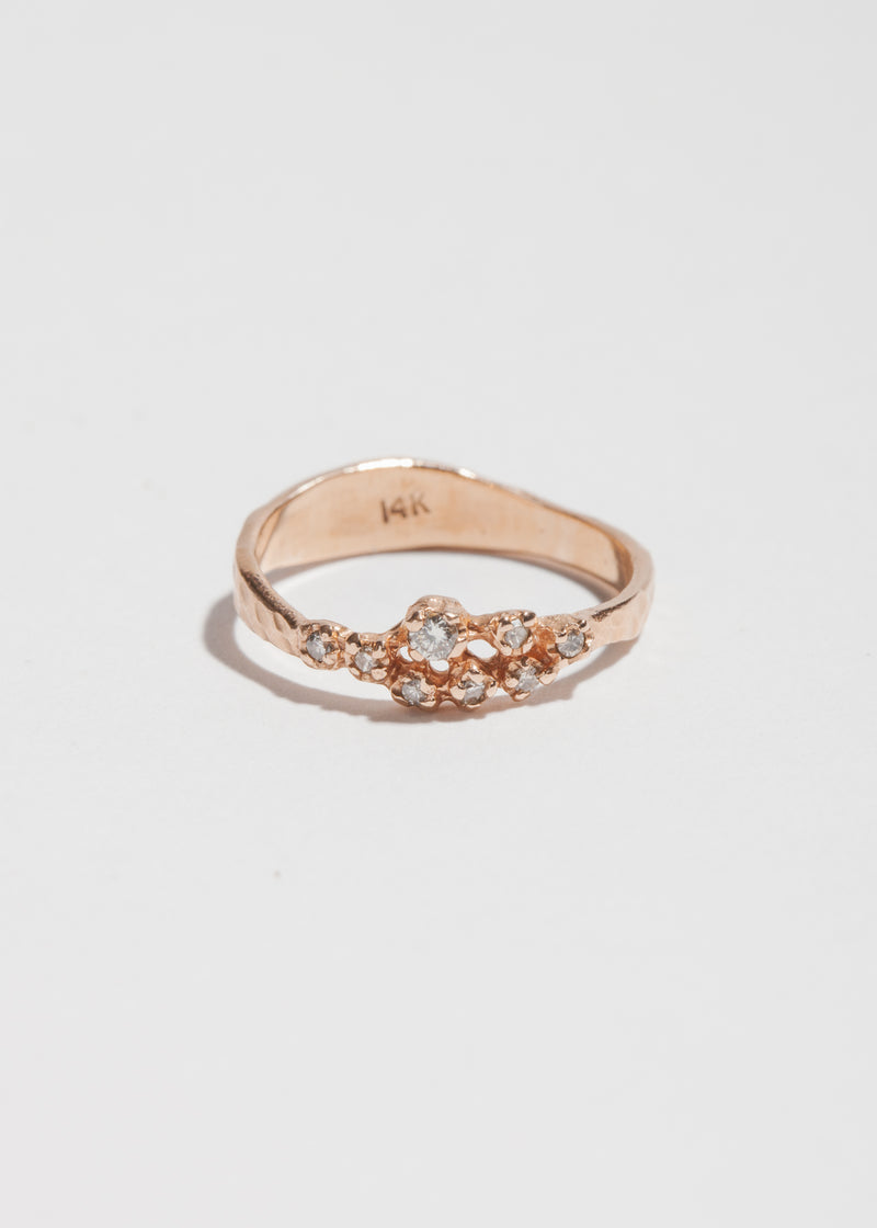 14k Gold 8 Diamond Cluster Ring