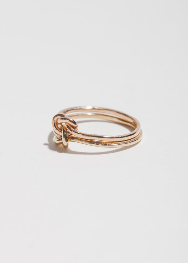 14k Gold Double Knot Gold Ring