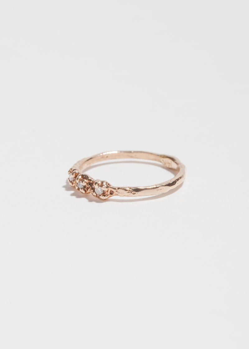 14k Gold 3 Diamond Pinky Ring