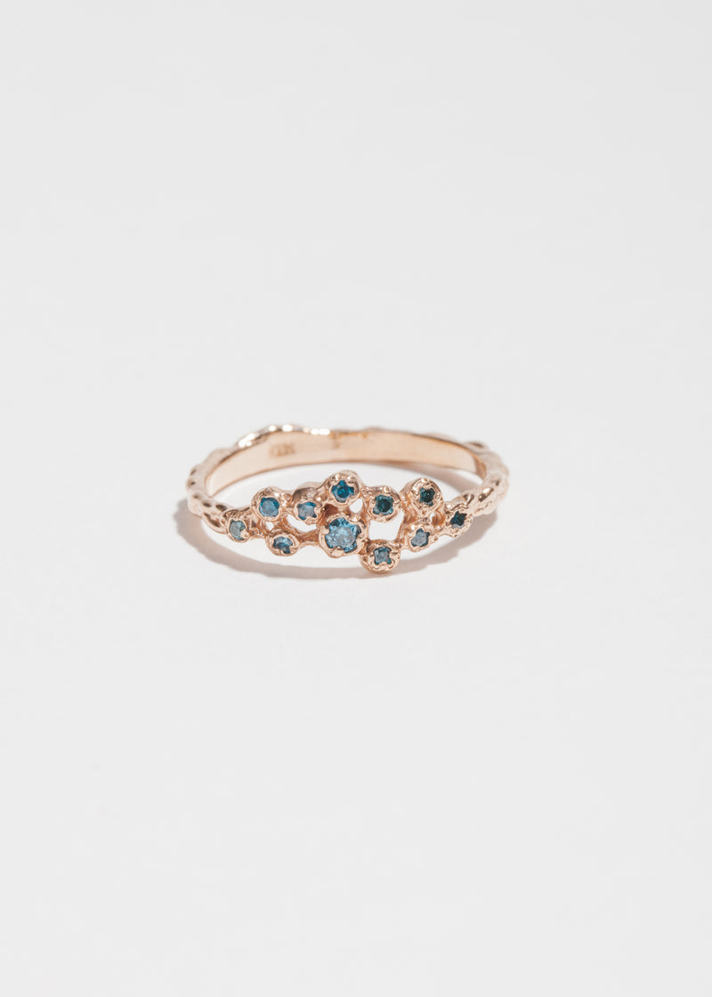 14k Rose Gold and 11 Blue Diamond Cluster Ring