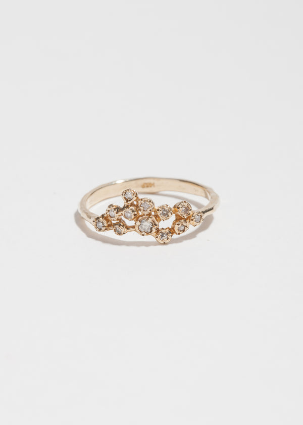 14k Gold 12 Diamond Cluster Ring