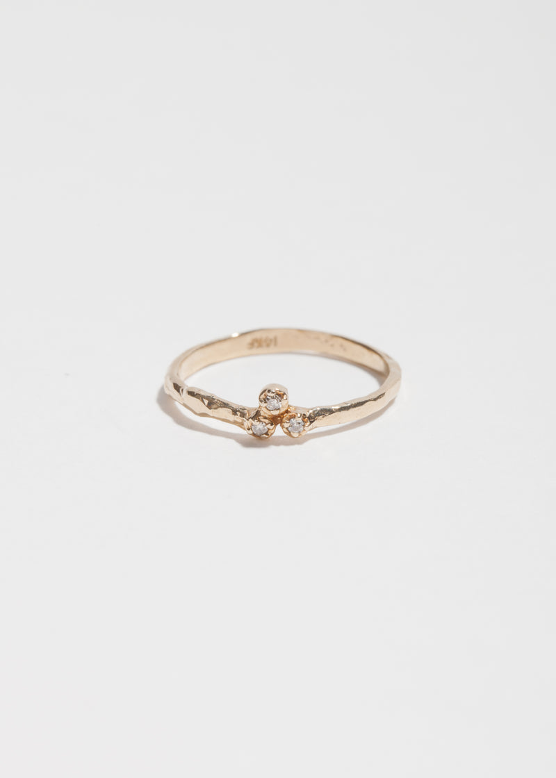 14k Gold Three Diamond Cluster Ring