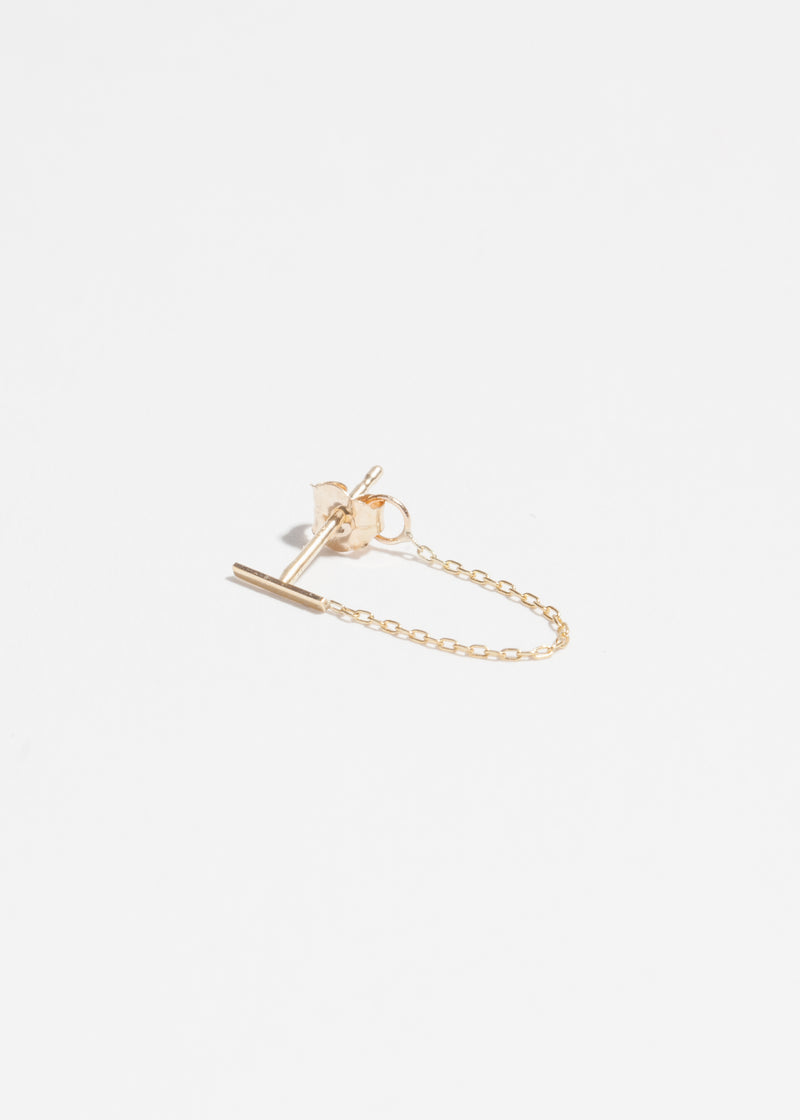 14k Gold Short Stick Chain Earring