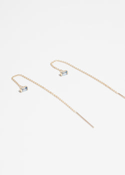 14k Gold and Blue Sapphire Baguette Threader Earrings