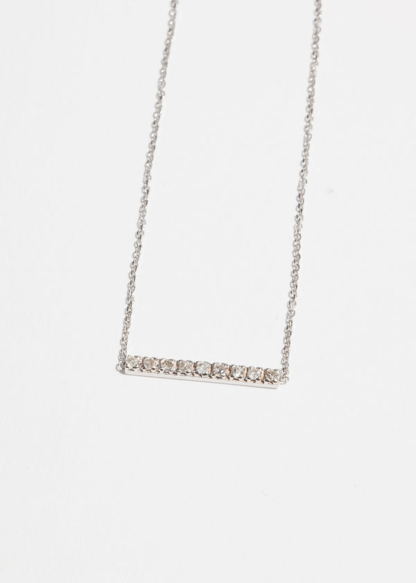 14k White Gold 9 Diamond Stick Necklace