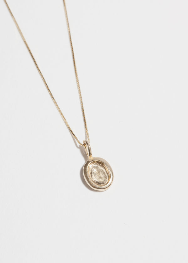 Small Platter Necklace in 14k Gold