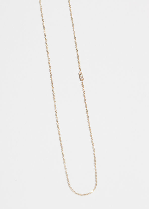 14k Gold 3 Diamond Asymmetrical Necklace