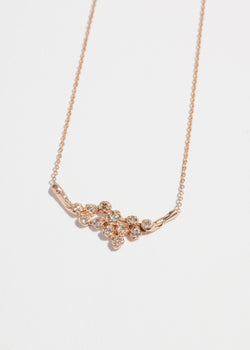 14k Gold Twelve Diamond Cluster Necklace
