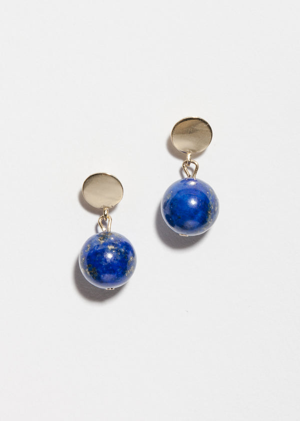 14k Gold Lapis Lazuli Drop Earrings