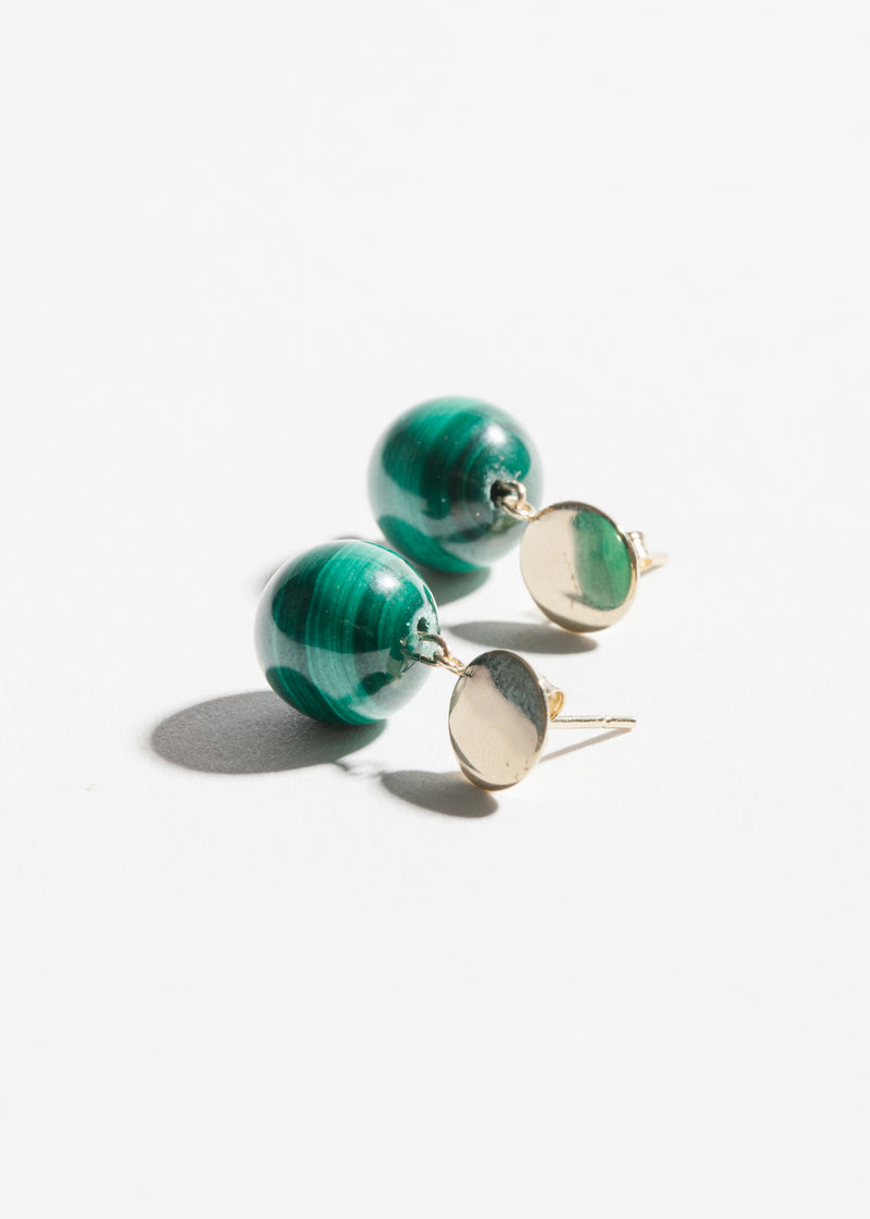 14k Gold Malachite Drop Earrings